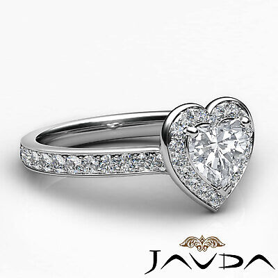 Cathedral Halo Pave Setting Heart Cut Diamond Engagement Ring GIA F VVS2 1.16Ct 9
