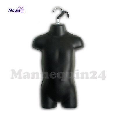 Mannequin Toddler Black - Kids Torso - Hard Plastic Hollow Back Dress Form