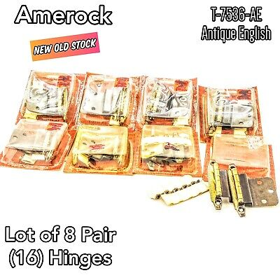 Vintage Amerock T-7536-AE Cabinet Hinges Lot of 16 Antique English 8 Pair Packs