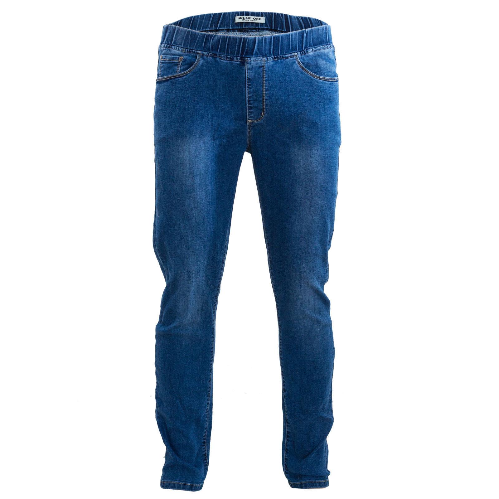 Uomo Slim Jeans Aderenti Classico Casual Regular Fit Denim Nero Indaco Blu Medio