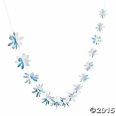 3D SNOWFLAKE GARLAND DECORATION FROZEN Winter Wonderland Decor Party Fun NEW