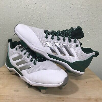 New Adidas Mens B39191 White,Silver Dark Green Baseball Cleats Size 12 ()