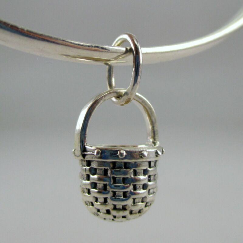 Sterling Silver APPLE BASKET Charm FOR BRACELET Necklace Pendant VINTAGE New