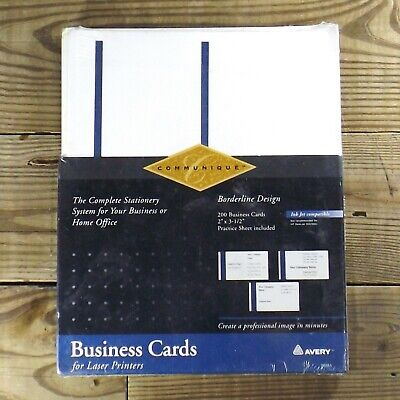Avery Inkjet Business Cards 2x3.5 200 Ct Blue Border New In Box