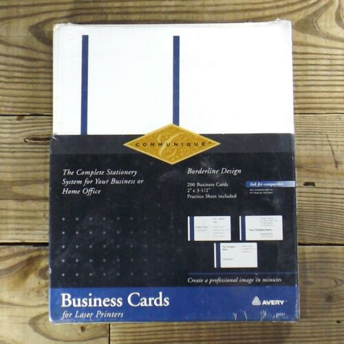 "Avery InkJet Business Cards, 2""X3.5"" 200 ct, Blue Border, New In Box"
