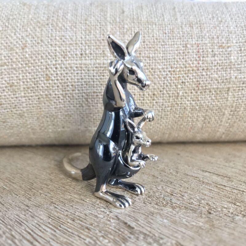"925 Silver Italian AR Signed Miniature Kangaroo w/ Baby in Pouch Figurine 1.75"""
