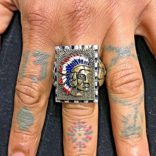 1940s 50s 2-Tone Gold & Silver Massive Mexican Biker Ring Native American