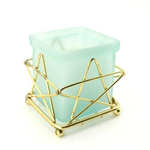 "Metal Art Cube Candle Holder w/Light Green Glass Insert 5-Point Star 3-1/2"""