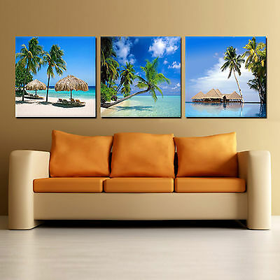 Beach/Seascape/Palm Tree ready to hang 3 piece picture mounted on MDF/canvas art (Palm Picture)