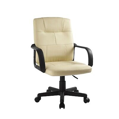 Bonded Leather Executive Manager Office Desk Chair Heavy Duty Mid Back Rolling