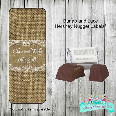 60 Burlap and Lace Rustic Wedding Shower Favors Hershey Nugget Labels Stickers](Rustic Bridal Shower Favors)
