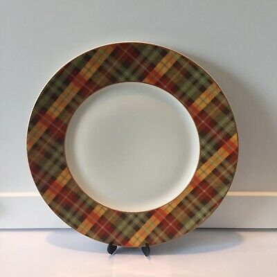 Pier 1 HARVEST PLAID Dinner Plates Fall Autumn Thanksgiving NWT w/minor flaw](Fall Dinner Plates)
