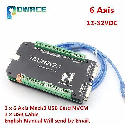 6 Axis 125khz Usb Mach3 Cnc Motion Controller Card Breakout Board Nvcm6v2.1