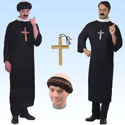 Kostüm Priester Gr. M-XL Kreuz Mönchsglatze Kirche Pfarrer Karnevalskostüm - Pfarrer Kostüm