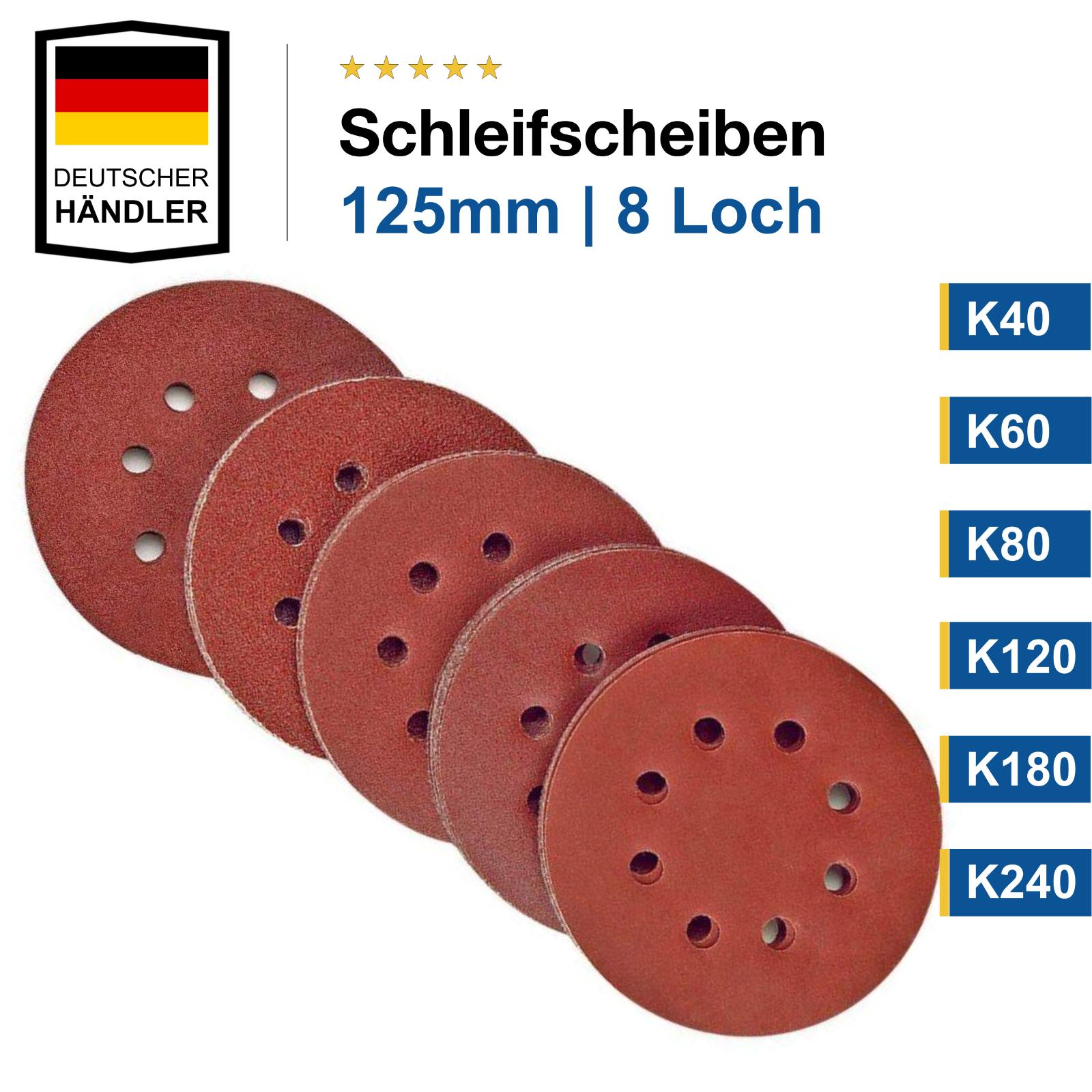 125mm 8 Loch Schleifscheiben Set Klett Schleifpapier Schleifblätter Exzenter