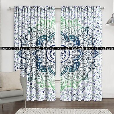 Indian floral mandala cotton tab top window valance drapes hanging curtains set