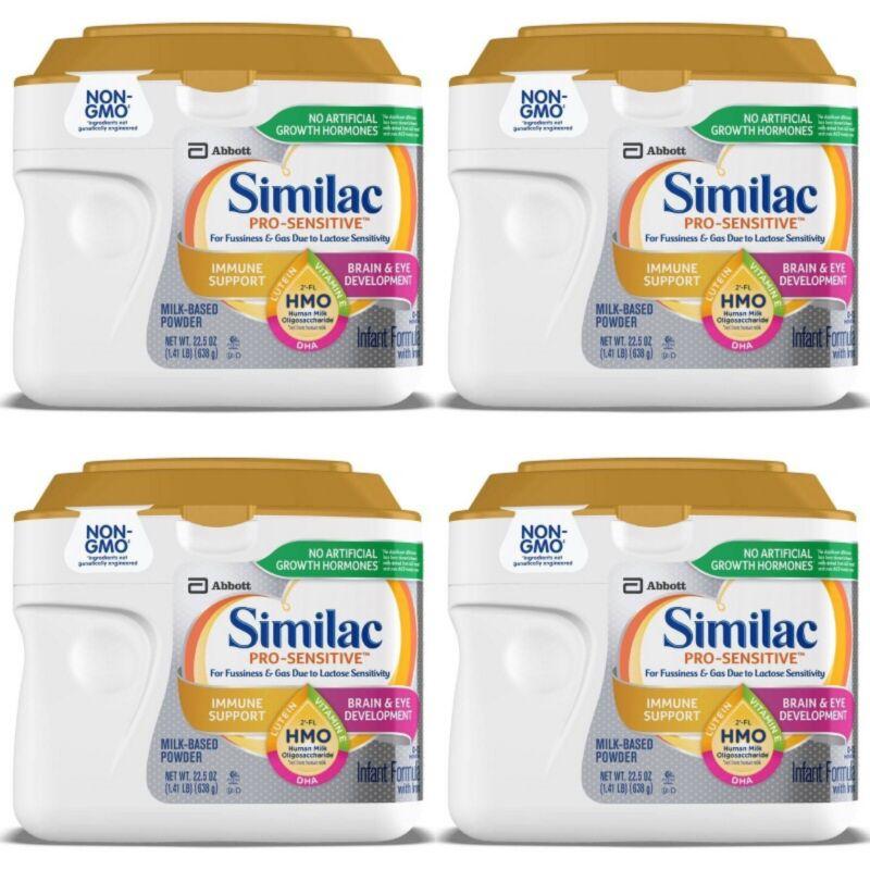 (4) Similac Pro Sensitive Non-GMO Infant Formula with Iron Powder - 22.5oz Each