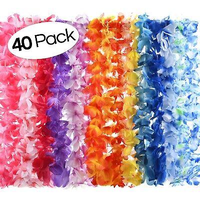 40 Count Hawaiian Flower Lei for Luau Party - Bulk Set of Floral Necklace Leis](Flower Leis Bulk)