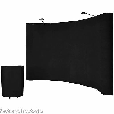 10'ft Portable Black Display Trade Show Booth Exhibit Pop Up Kit W/Spotlights on Rummage
