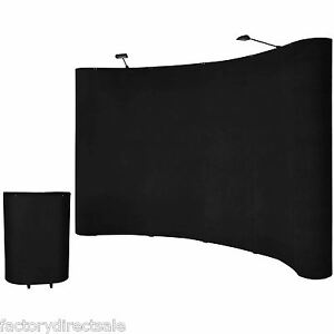 10'ft Portable Black Display Trade Show Booth Exhibit Pop Up Kit W/Spotlights