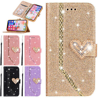 For iPhone XS/XR/X/7/8 Love Pattern Bling Diamond Flip Leather Wallet Case Cover