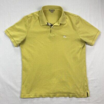 Burberry Brit Mens Large Yellow Nova Check Short Sleeve Pique Polo Shirt