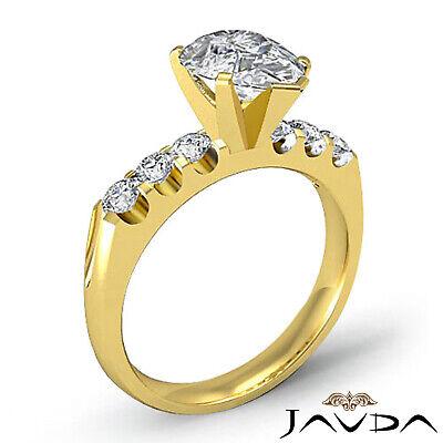 6 Stone Prong Set Pear Cut Diamond Engagement Ring GIA H SI1 Platinum 1.31 ct 6