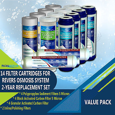 14 Replacement Filters Set for 5-Stage Reverse Osmosis Water Filtration System