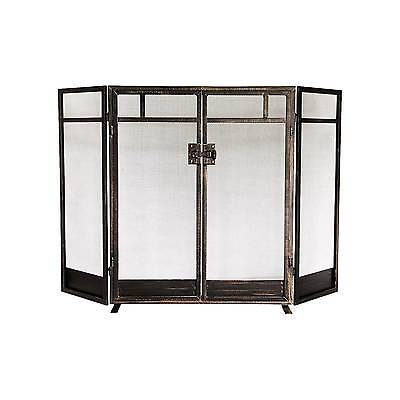 Mission Fireplace Screen - Black with Brushed Bronze Finish - Threshold™