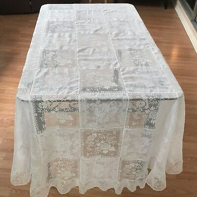 Army Navy Style Tablecloth, Vintage Banquet Oval White Stunning Wedding Tableclo