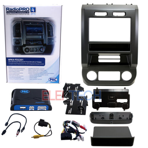 RPK4-FD2201 Radio Replacement Kit w/Integrated Climate Control for 2015-19 Ford
