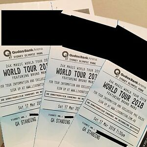 3 GA FRONT Standing tickets Bruno Mars Mar17 Bondi Eastern Suburbs Preview