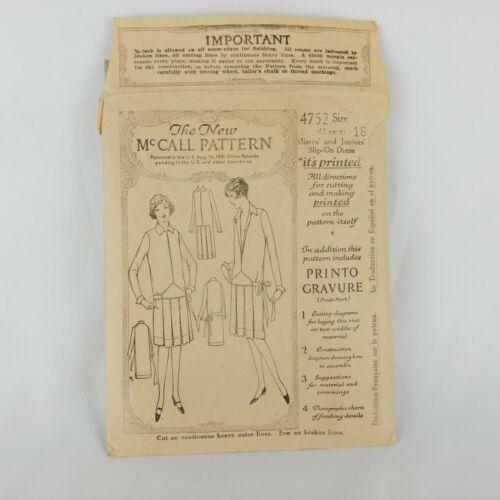 1920s McCall Print Sewing Pattern 34 Bust Miss Jrs Slip On Dress Printo Gravure