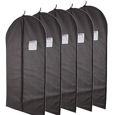 5 Pcs 40-inch Garment Bag for Suit Dress Storage Black with Transparent Window