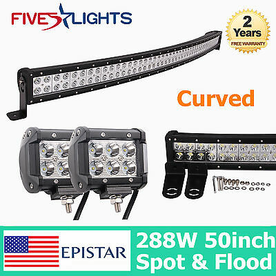 "50inch 288W Curved LED Work Light Bar COMBO Offroad Truck 18W 4"" CREE SPOT 48/52"