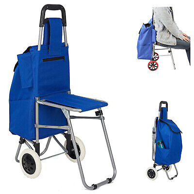 Folding Shopping Cart Chair Seat Grocery Utility Trolley Dolly W Removable Bag