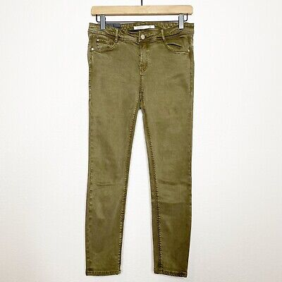 Zara Womens Army Green Mid Rise Skinny Jeans Pants 6