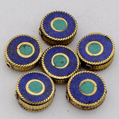 Turquoise Lapis Brass 6 Beads Evil Eye Flat Round Coin Tibetan Nepal UB2574