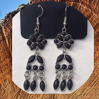 Paparazzi Which Way West Black Earrings Black Round Oval Marquise Shaped Stones ()