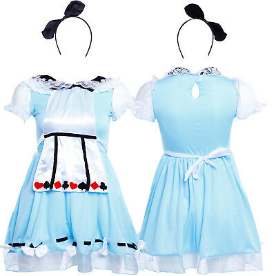 Child Alice Princess Costume Wonderland Girls Book Week Day Fancy Dress Outfit