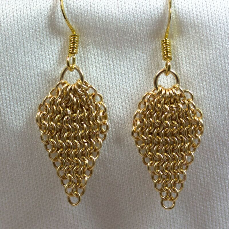14kt Gold-Filled Chain Maille Earrings Palm Leaf
