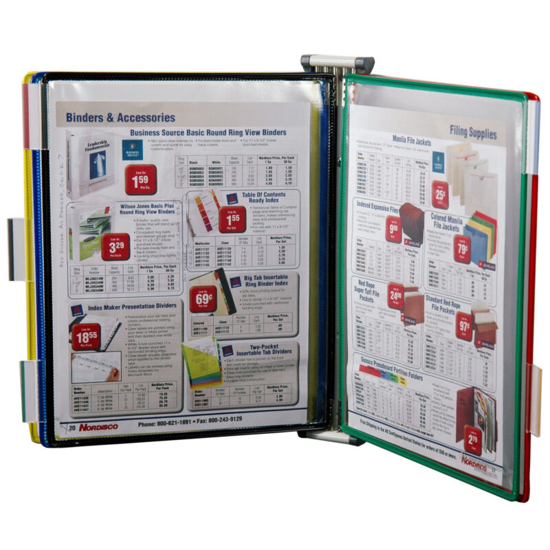 "Tarifold W290, Wall Mounted 5 Pocket Reference Rack, Holds 10 8.5 x 11"" Sheets"