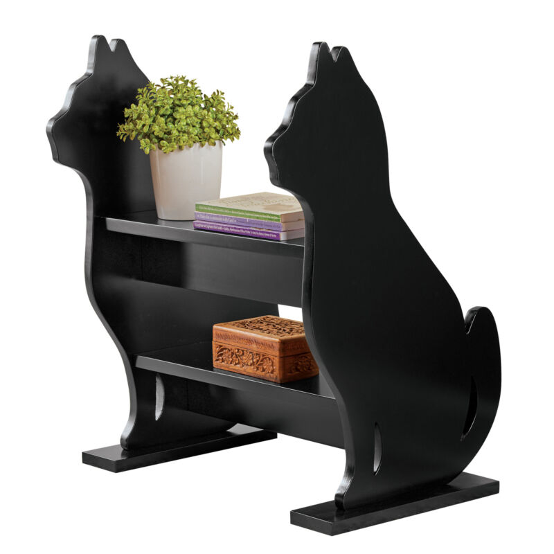 Cat Silhouette Entryway Storage Bench