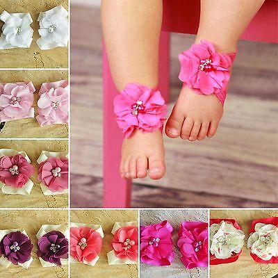 Baby Girl Barefoot Sandals Christening Wedding Soft Flower Newborn Shoes Pearls