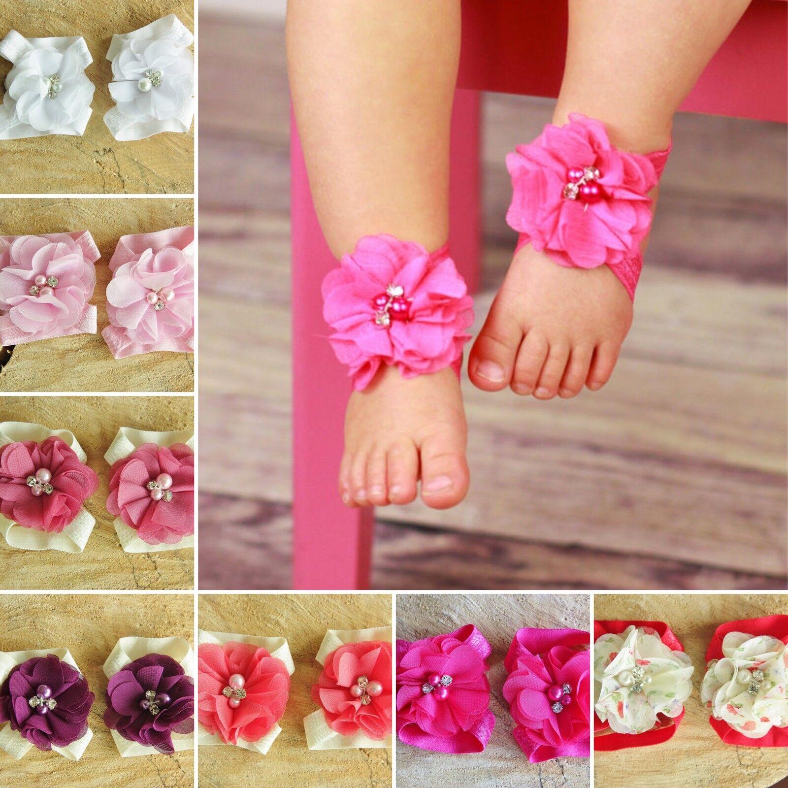 BAMBINA A Piedi Nudi sandali battesimo matrimonio Morbido Fiore Neonato Scarpe