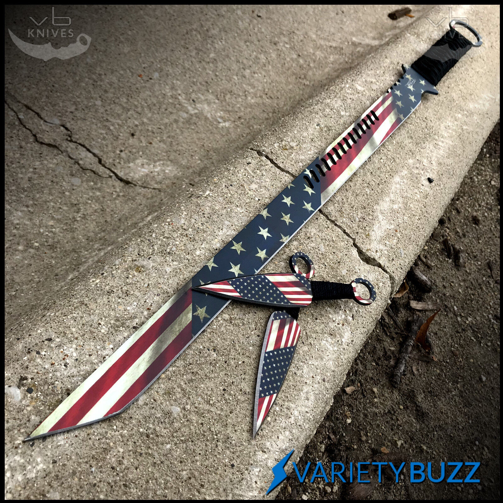 "27"" AMERICAN FLAG NINJA SWORD Full Tang Machete Blade Katana Throwing Knife Set"