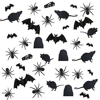 36 x Halloween Assorted Cut-out Black Card Wall Silhouettes Spiders, Mice & Bats - Halloween Cut Out Cards