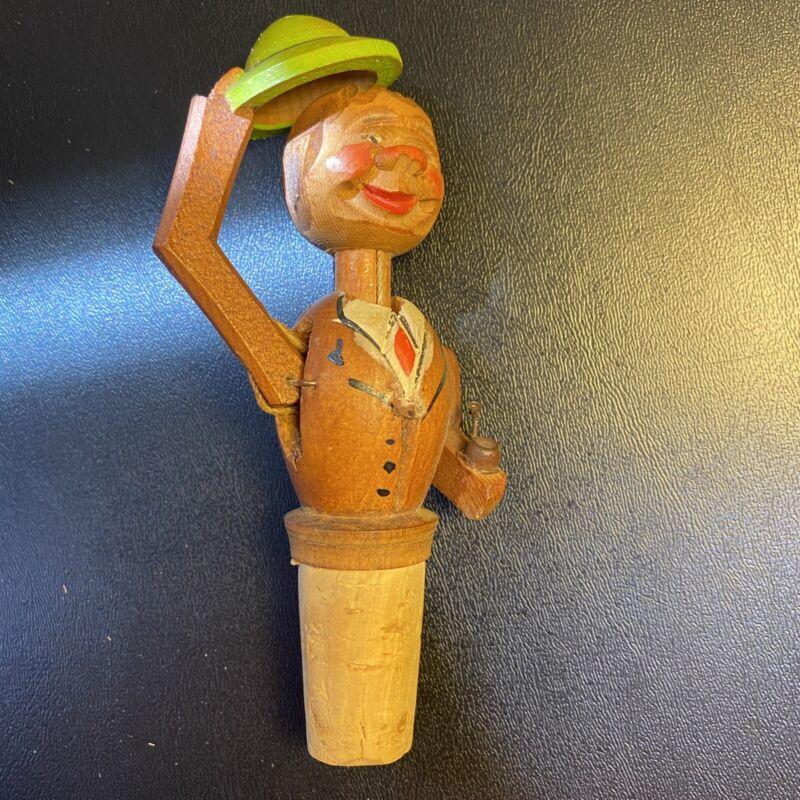 Wine Stopper Vintage Handcarved Wooden Hats Off Mechanical German-made Cork