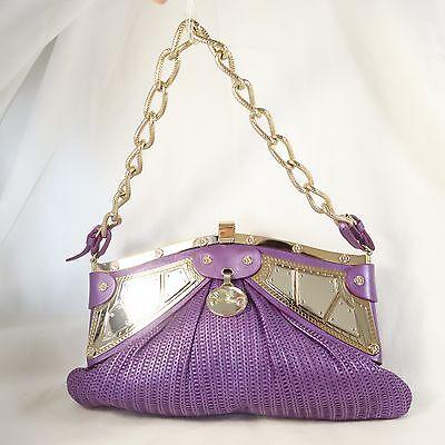 VERSACE Purlple Leather Handbag Chain Handle, Metal Framel & Mirror Accents