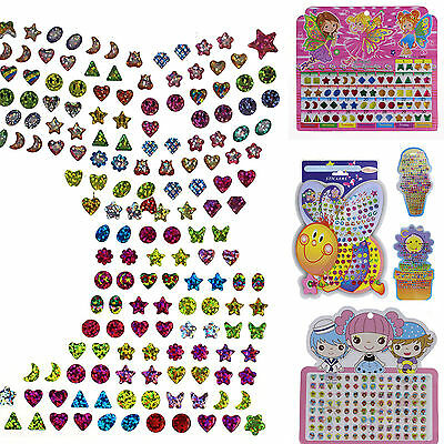 Best 1 Sheet Kid Girl Crystal Stick Earring Sticker Toy Body Bag Party Jewellery